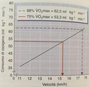 Confronto velocità al 75 e 88 per cento del VO2MAX